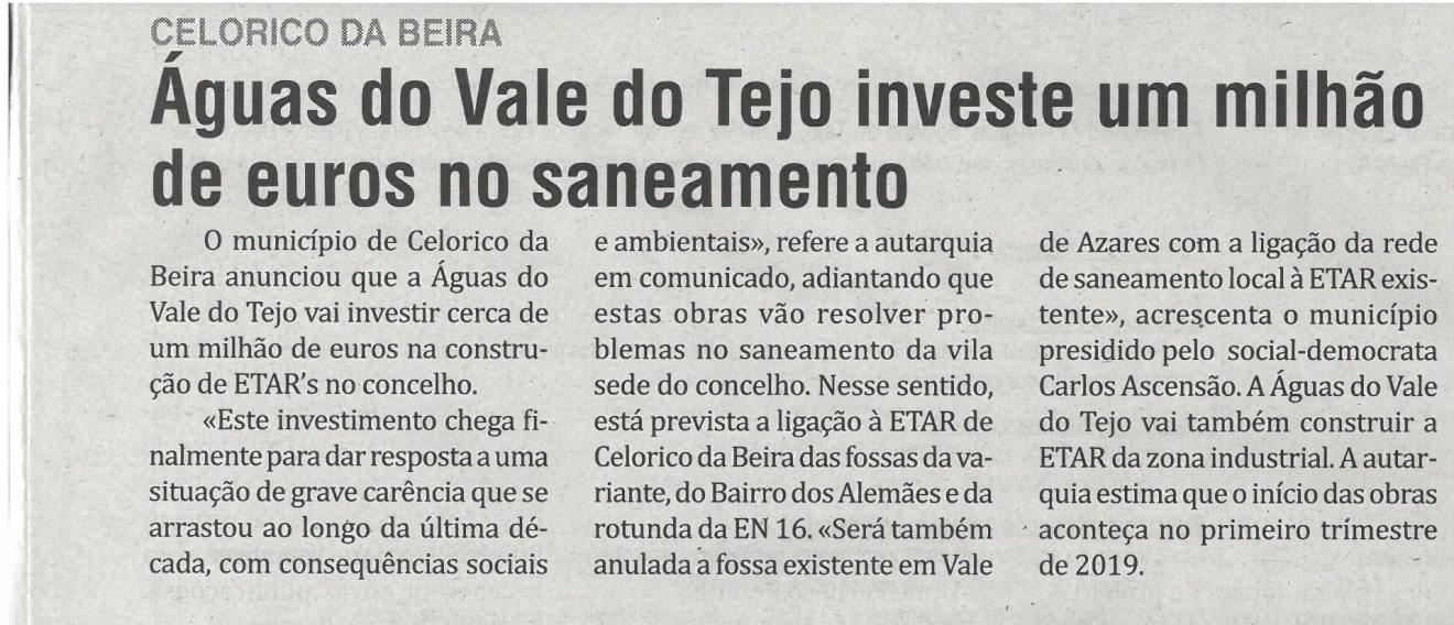 Águas do Vale to Teho investe um milhão de euros no saneamento | Jornal O Interior