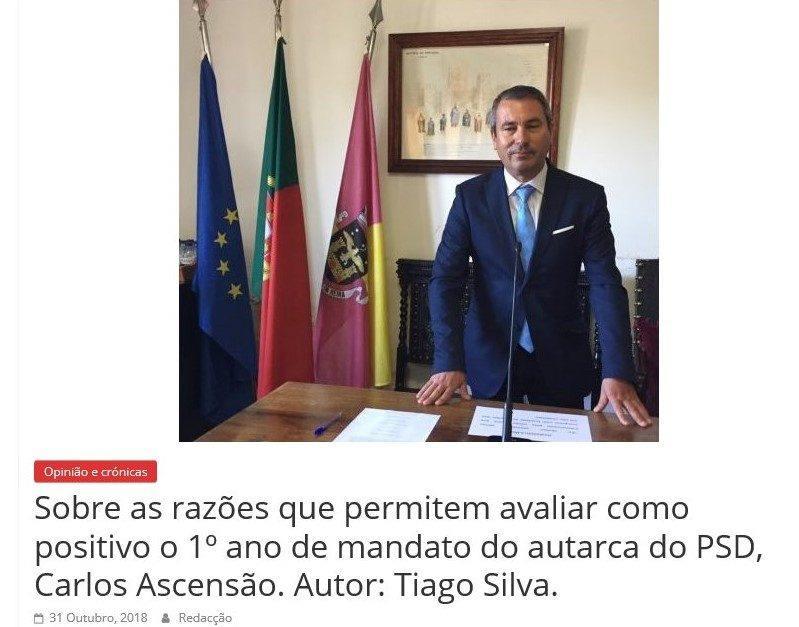 Sobre as razões que permitem avaliar como positivo o 1º ano de mandato do autarca do PSD, Carlos Ascensão. Autor: Tiago Silva.