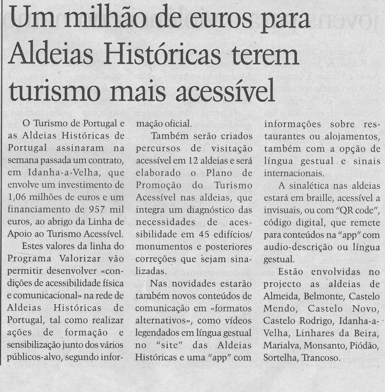 Um milhão de euros para Aldeias Históricas terem turismo mais acessível | Jornal Terras da Beira